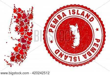 Collage Pemba Island Map Created From Red Love Hearts, And Corroded Seal Stamp. Vector Lovely Round