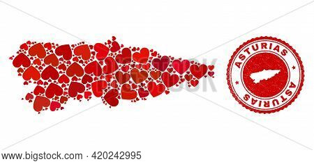 Collage Asturias Province Map Created With Red Love Hearts, And Rubber Stamp. Vector Lovely Round Re