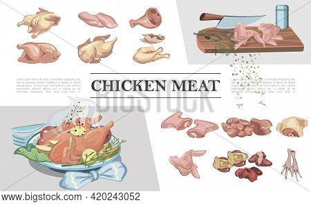 Colorful Chicken Meat Composition With Legs Breast Feet Ham Wings Fillet Thigh Heart Liver Knife On