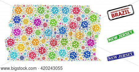 Vector Cell Mosaic Brazil Distrito Federal Map, And Grunge New Jersey Seals. Vector Colored Brazil D