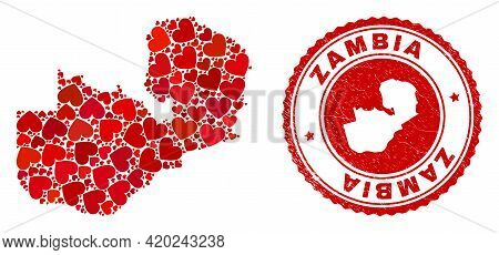 Mosaic Zambia Map Formed With Red Love Hearts, And Corroded Seal Stamp. Vector Lovely Round Red Rubb