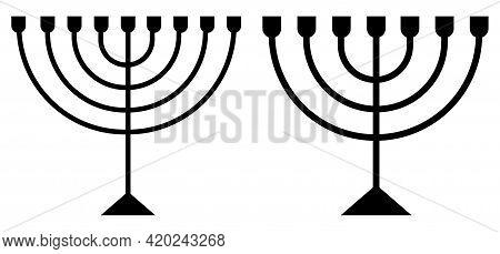 Hanukkah Menorah Candelabrum Black Sign Isolated On White. Religion Icon. Silhouette Of Sacred Jewis