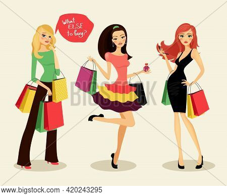 Blonde, Brunette And Redhead Fashion Shopping Girls With Bags And Packages In Hand, Glad Purchases,