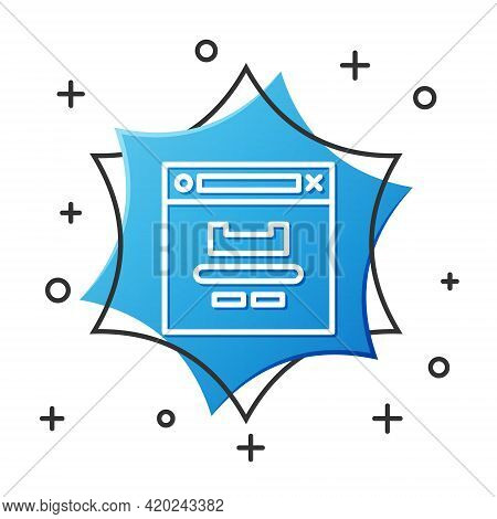 White Line Browser Window Icon Isolated On White Background. Blue Hexagon Button. Vector Illustratio