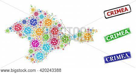 Vector Viral Mosaic Crimea Map, And Grunge Crimea Seal Stamps. Vector Multi-colored Crimea Map Colla