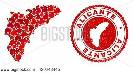 Collage Alicante Province Map Designed With Red Love Hearts, And Unclean Seal Stamp. Vector Lovely R