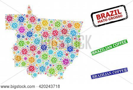 Vector Infection Collage Mato Grosso State Map, And Grunge Brazilian Coffee Seals. Vector Colorful M