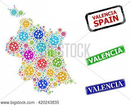 Vector Covid-2019 Mosaic Valencia Province Map, And Grunge Valencia Seal Stamps. Vector Colored Vale