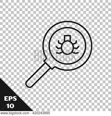 Black Line Flea Search Icon Isolated On Transparent Background. Vector