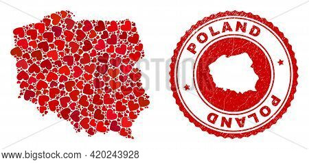 Mosaic Poland Map Formed With Red Love Hearts, And Unclean Stamp. Vector Lovely Round Red Rubber Sea