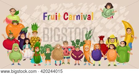 Children In Costumes Of Fruits And Vegetables. Childrens Vitamins, Childrens Bright Banner Design Wi