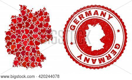 Collage Germany Map Composed With Red Love Hearts, And Dirty Seal. Vector Lovely Round Red Rubber Se