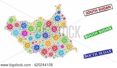 Vector Cell Mosaic South Sudan Map, And Grunge South Sudan Seals. Vector Multi-colored South Sudan M