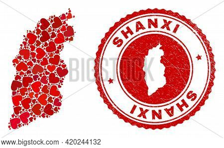 Mosaic Shanxi Province Map Designed With Red Love Hearts, And Corroded Seal Stamp. Vector Lovely Rou