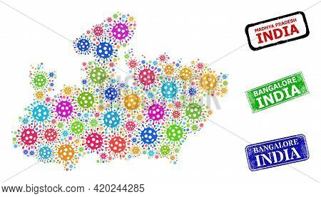 Vector Covid Collage Madhya Pradesh State Map, And Grunge Bangalore India Seal Stamps. Vector Multi-