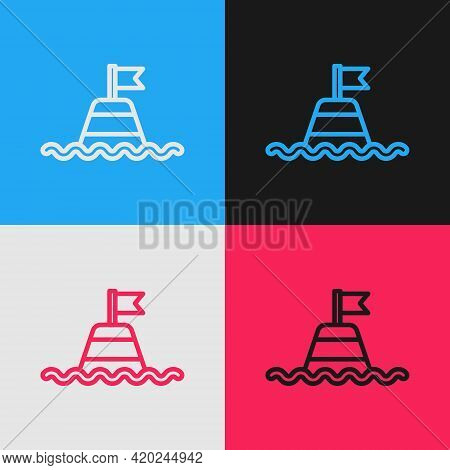 Pop Art Line Floating Buoy On The Sea Icon Isolated On Color Background. Vector