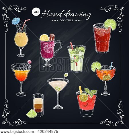 Colored Cocktails Hand Drawn Set Including Blue Lagoon Margarita Sex On Beach On Texture Chalkboard