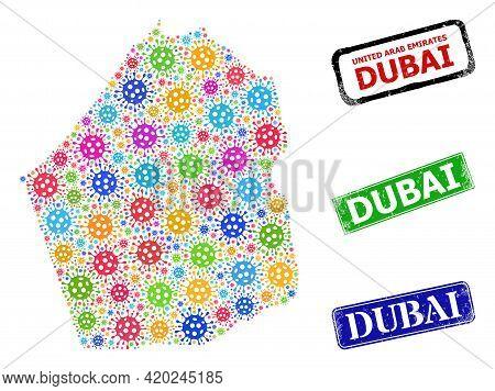 Vector Covid-2019 Mosaic Dubai Emirate Map, And Grunge Dubai Seal Stamps. Vector Colored Dubai Emira