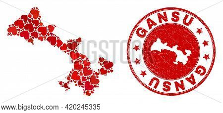 Mosaic Gansu Province Map Designed With Red Love Hearts, And Unclean Seal Stamp. Vector Lovely Round