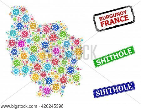 Vector Covid Mosaic Burgundy Province Map, And Grunge Shithole Seals. Vector Colored Burgundy Provin