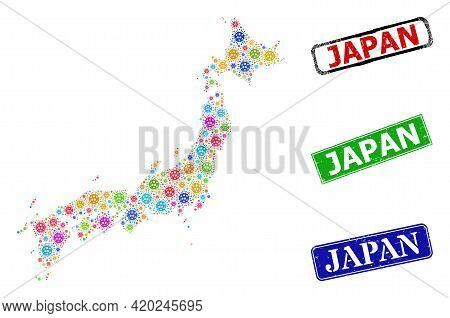 Vector Covid-2019 Collage Japan Map, And Grunge Japan Badges. Vector Multi-colored Japan Map Collage