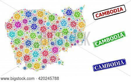 Vector Contagious Collage Cambodia Map, And Grunge Cambodia Seal Stamps. Vector Colored Cambodia Map