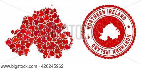 Collage Northern Ireland Map Composed With Red Love Hearts, And Rubber Seal. Vector Lovely Round Red