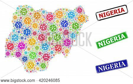Vector Infection Collage Nigeria Map, And Grunge Nigeria Seals. Vector Multi-colored Nigeria Map Col