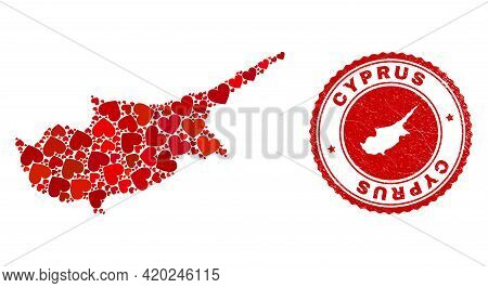 Collage Cyprus Map Formed With Red Love Hearts, And Dirty Badge. Vector Lovely Round Red Rubber Badg