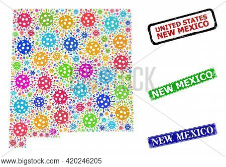 Vector Covid-2019 Mosaic New Mexico State Map, And Grunge New Mexico Seal Stamps. Vector Colored New