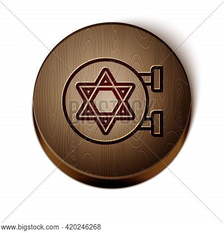 Brown Line Jewish Synagogue Building Or Jewish Temple Icon Isolated On White Background. Hebrew Or J
