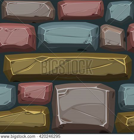 Cobblestones Seamless Pattern, Multicolored Texture Paving Stone For Ui Game.