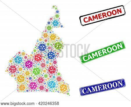 Vector Virus Mosaic Cameroon Map, And Grunge Cameroon Seal Stamps. Vector Multi-colored Cameroon Map