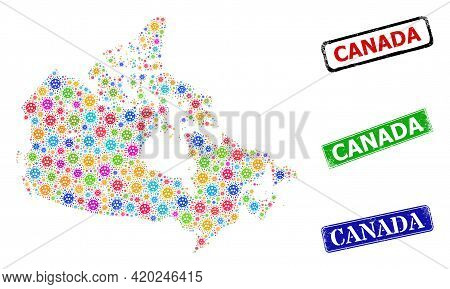 Vector Covid Mosaic Canada Map, And Grunge Canada Seal Stamps. Vector Colored Canada Map Collage, An