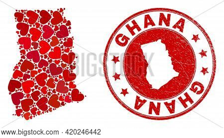 Mosaic Ghana Map Created With Red Love Hearts, And Rubber Stamp. Vector Lovely Round Red Rubber Seal