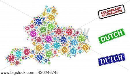 Vector Contagious Mosaic Gelderland Province Map, And Grunge Dutch Badges. Vector Colored Gelderland