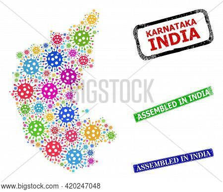 Vector Covid Collage Karnataka State Map, And Grunge Assembled In India Seal Stamps. Vector Multi-co