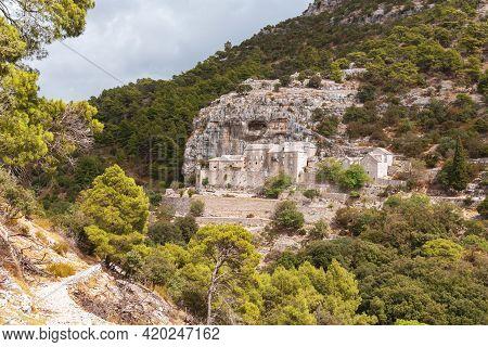 Famous Pustinja Blaca Hermitage In Stone Desert. Brac Island, Dalmatia, Croatia.