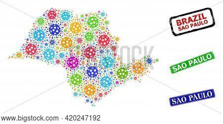 Vector Virus Mosaic Sao Paulo State Map, And Grunge Sao Paulo Seals. Vector Colorful Sao Paulo State