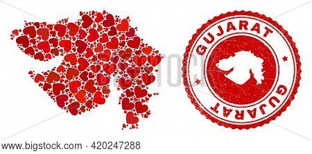 Mosaic Gujarat State Map Formed With Red Love Hearts, And Rubber Seal Stamp. Vector Lovely Round Red