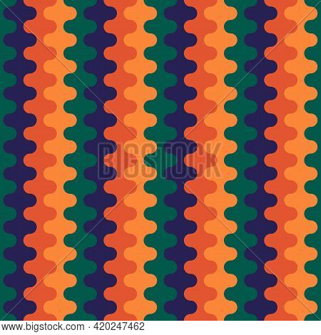 Seamless Pattern. Repeated Wavy Lines. Ethnic Ornament. Jagged Stripes. Waves Ornate. Curves Image.