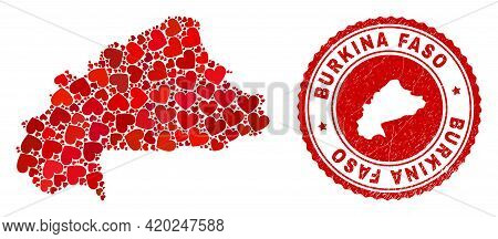 Collage Burkina Faso Map Formed With Red Love Hearts, And Unclean Badge. Vector Lovely Round Red Rub