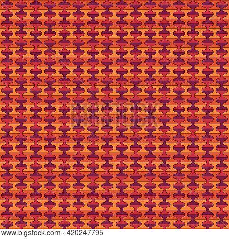 Seamless Pattern With Tiles Ornament. Oriental Ornamentation With Repeated Dumbbells Shapes. Tile Wa