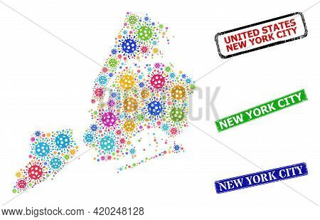 Vector Virus Collage New York City Map, And Grunge New York City Seal Stamps. Vector Multi-colored N