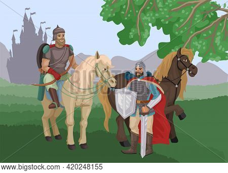 Warriors, Knights On A Horse, A Halt In The Forest, Castle On The Back, Medieval Wars, Historical Ch