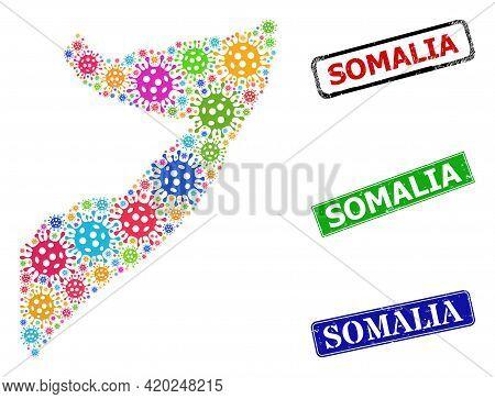 Vector Coronavirus Mosaic Somalia Map, And Grunge Somalia Seal Stamps. Vector Multi-colored Somalia