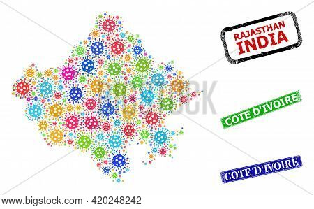 Vector Virus Collage Rajasthan State Map, And Grunge Cote Divoire Seals. Vector Colored Rajasthan St