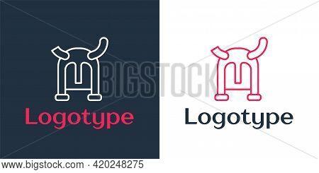 Logotype Line Viking In Horned Helmet Icon Isolated On White Background. Logo Design Template Elemen