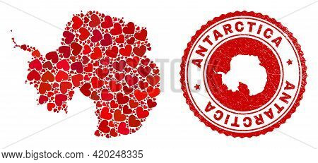 Mosaic Antarctica Continent Map Formed With Red Love Hearts, And Rubber Badge. Vector Lovely Round R
