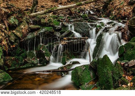 Cascades Of Small River Stream In Orlicke Mountains,czech Republic. Long Exposure Water.fresh Spring